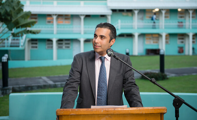 Mohammed Asaria giving a speech in St. Kitts