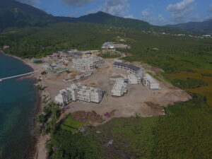 aerial view of construction progress cabrits resort dominica
