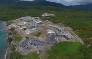 flyover view of cabrits resort dominica construction