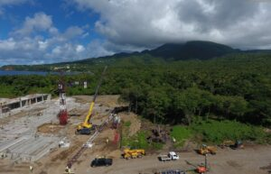 clearing ground for construction of cabrits resort dominica