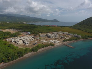 early aerial view of cabrits resort & spa dominica construction