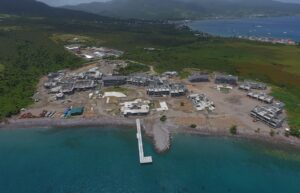 ocean view of pier building cabrits resort & spa dominica