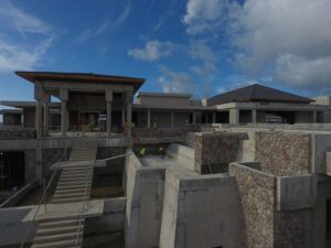 construction of the entry to cabrits resort & spa dominica
