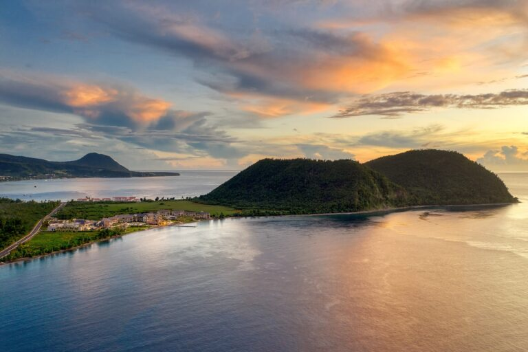Resort Aerial at Sunset with Douglas Bay and Cabrits National Park- Ruperts Bay