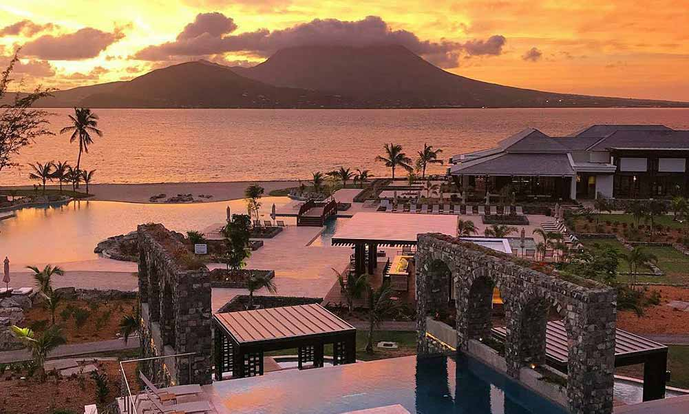 Park Hyatt St. Kitts resort view at sunset