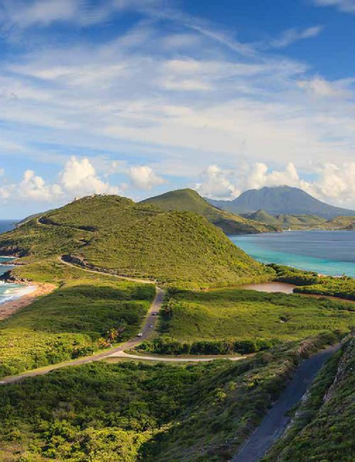 Hillside roads on Caribbean island